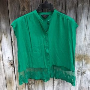 Jack Green Embroidered Lace Blouse